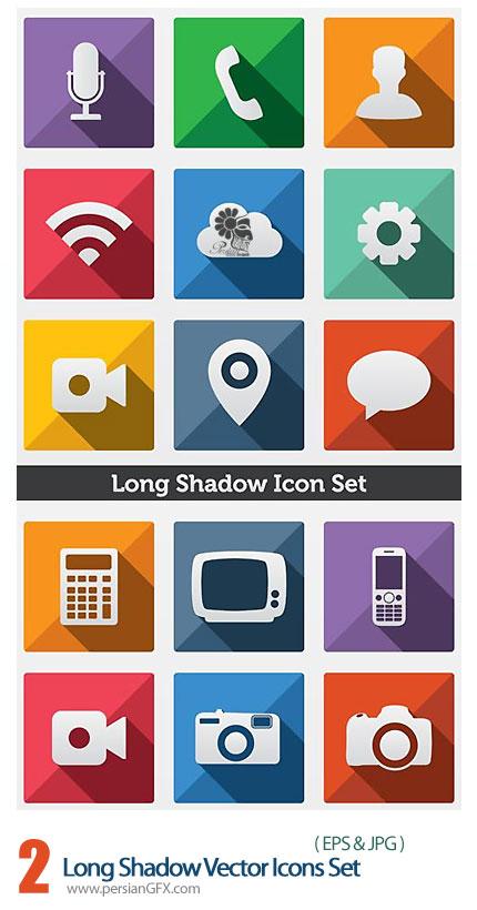 دانلود تصاویر وکتور آیکون با سایه طولانی - Long Shadow Vector Icons Set