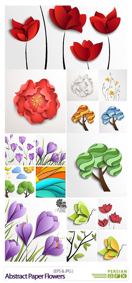 دانلود تصاویر وکتور گل های انتزاعی کاغذی - Abstract Paper Flowers