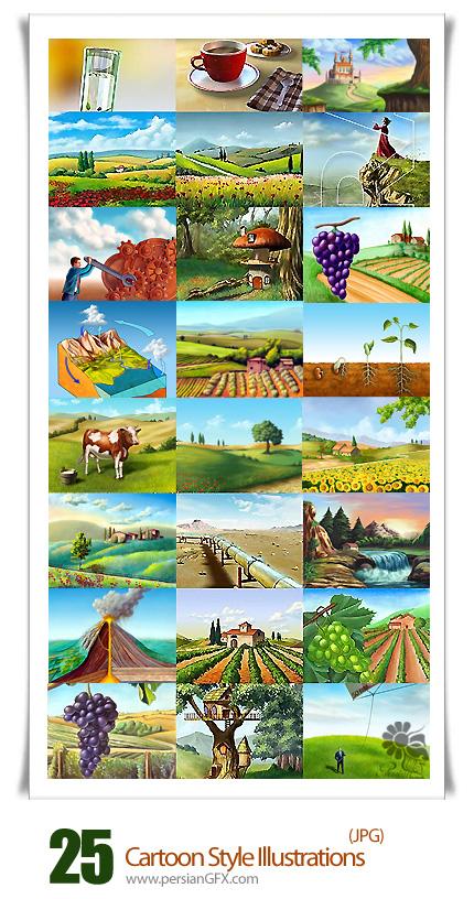 دانلود تصاویر با کیفیت طبیعت کارتونی - Cartoon Style Illustrations