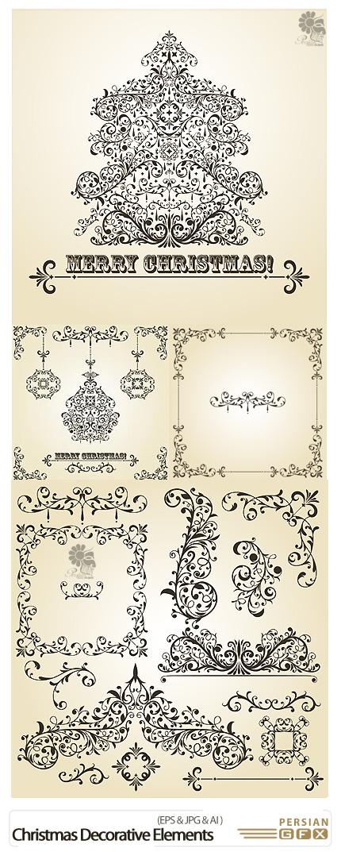 دانلود تصاویر وکتور حاشیه های تزئینی گلدار کریسمس - Christmas Decorative Design Elements