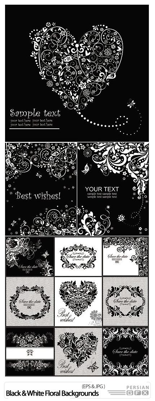 دانلود تصاویر وکتور پس زمینه های فانتزی گلدار - Black And White Floral Backgrounds Vector