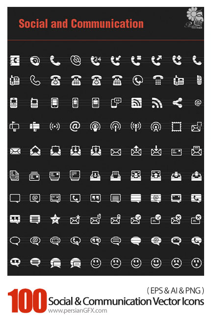 دانلود تصاویر وکتور آیکون های اجتماعی و ارتباطات - 100 Social And Communication Vector Icons
