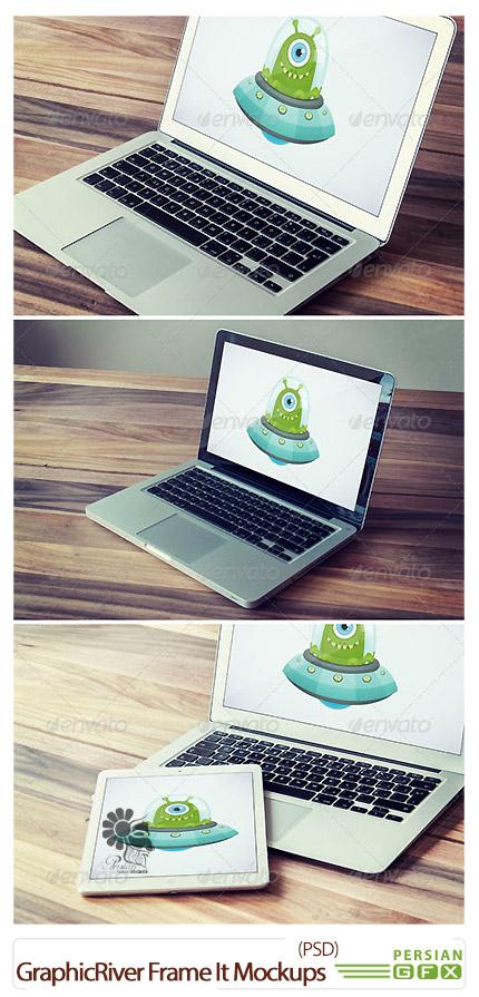دانلود تصاویر لایه باز قالب پیش نمایش موبایل، لپ تاپ و تبلت از گرافیک ریور - GraphicRiver Frame It Mockups