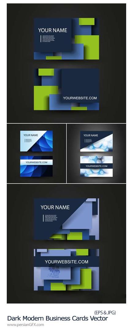 دانلود تصاویر وکتور کارت ویزیت فانتزی - Dark Modern Business Cards Vector