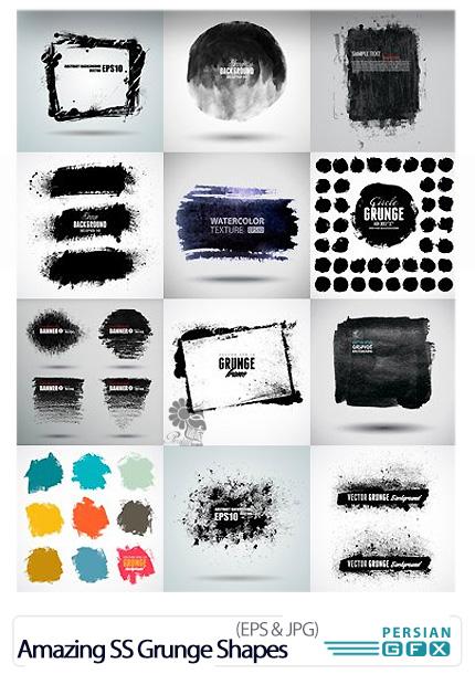 دانلود تصاویر وکتور گرانج اشکال، کثیف، قدیمی، خش دار، لکه دار از شاتر استوک - Amazing Shutterstock Grunge Shapes
