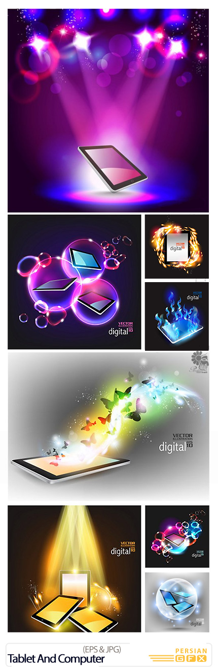 دانلود تصاویر وکتور فانتزی تبلت و کامپیوتر - Tablet And Computer