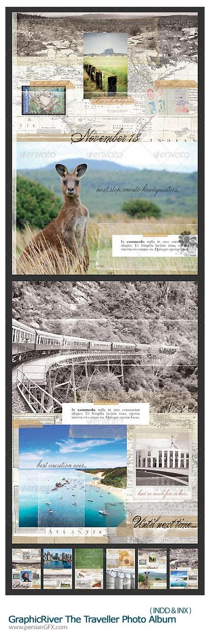 دانلود قالب آماده ایندیزاین آلبوم سفر از گرافیک ریور - GraphicRiver The Traveller Photo Album
