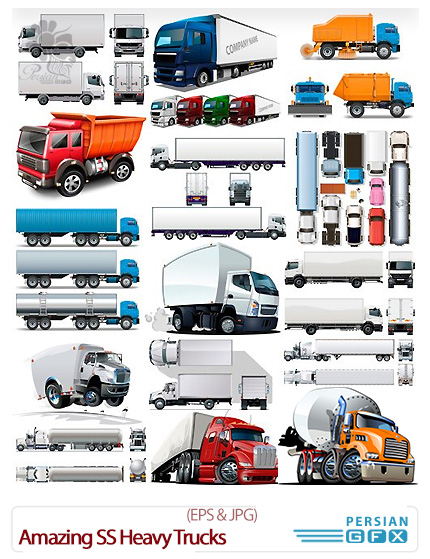 دانلود تصاویر وکتور کامیون های سنگین از شاتر استوک - Amazing ShutterStock Heavy Trucks