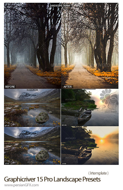 دانلود اکشن ایجاد افکت نورانی بر روی تصاویر از گرافیک ریور - Graphicriver 15 Pro Landscape Presets