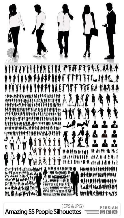 دانلود تصاویر وکتور سایه مرد و زن از شاتر استوک - Amazing ShutterStock People Silhouettes