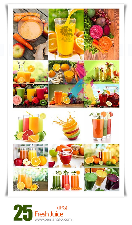 دانلود تصاویر با کیفیت آبمیوه، آب پرتقال، آب هویج و ... - Fresh Juice