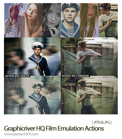 دانلود اکشن افکت سینمایی از گرافیک ریور - Graphicriver HQ Film Emulation Actions