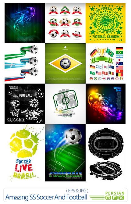 دانلود تصاویر وکتور فوتبال، توپ فوتبال، زمین فوتبال از شاتر استوک - Amazing ShutterStock Soccer And Football
