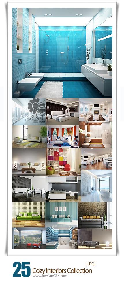 دانلود تصاویر با کیفیت دکوراسیون داخلی خانه، اتاق خواب، حمام و دستشویی - Cozy Interiors Collection