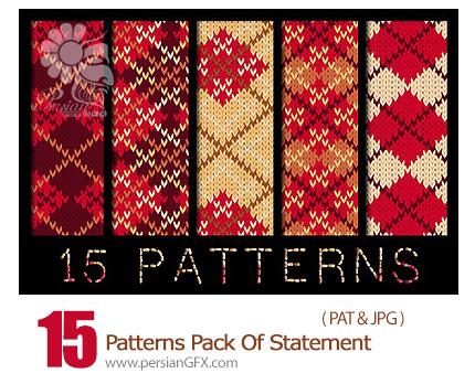 دانلود پترن بافت پشمی فتوشاپ - 15 Patterns Pack Of Statement Wool Fabrics