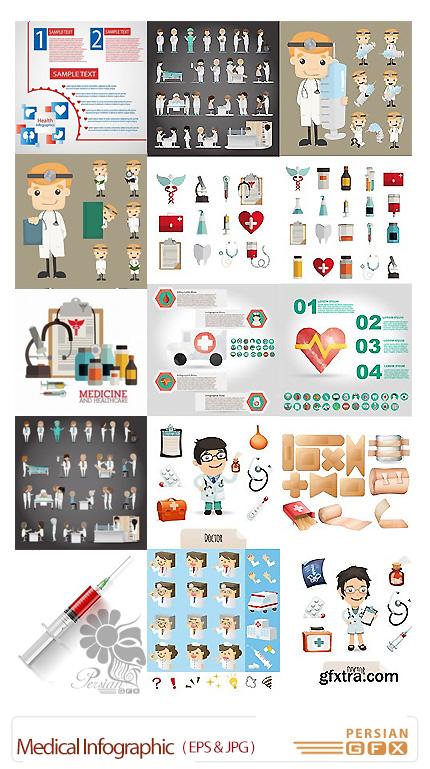 دانلود تصاویر وکتور نمودار اینفوگرافیکی پزشکی از شاتر استوک - Shutterstock Medical Infographic