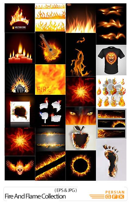 دانلود تصاویر وکتور آتش و شعله های آتش - Fire And Flame Collection