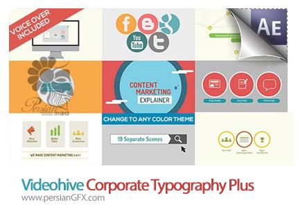 دانلود آموزش ویدئویی و فایل آماده افترافکت نمایش فعالیت های اینترنتی - Videohive Corporate Typography Plus