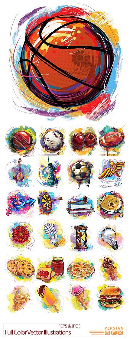 دانلود تصاویر وکتور تصویرسازی رنگی اشیاء مختلف، توپ، میوه، آلات موسیقی - Full Color Vector Illustrations