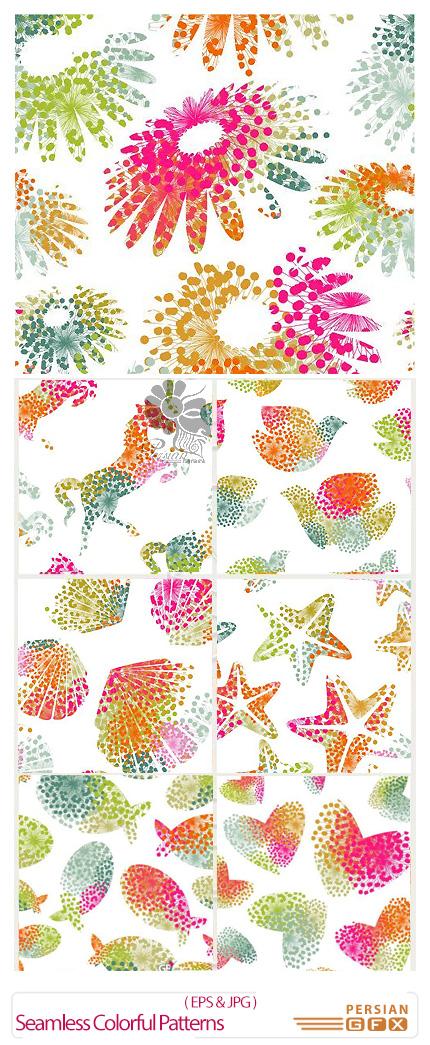 دانلود تصاویر وکتور پترن اشکال انتزاعی رنگارنگ - Seamless Colorful Patterns