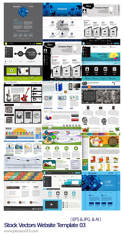 دانلود تصاویر وکتور قالب های آماده وب - Stock Vectors Website Template 03