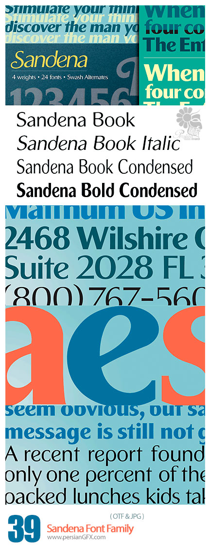 دانلود فونت انگلیسی متنوع - Sandena Font Family