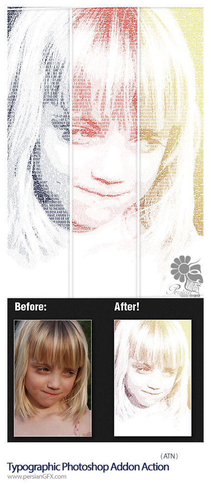دانلود اکشن ایجاد افکت تایپوگرافی بر روی تصاویر - Typographic Photoshop Addon Action