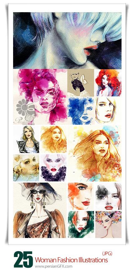 دانلود تصاویر با کیفیت نقاشی پرتره زن - Woman Fashion Illustrations