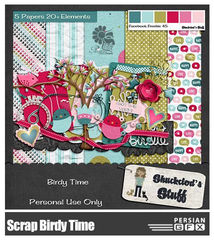 دانلود کلیپ آرت عناصر تزئینی، کارت های رنگی، تکسچر - Scrap Birdy Time