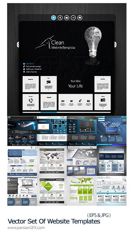 دانلود تصاویر وکتور قالب های آماده وب - Vector Set Of Website Templates
