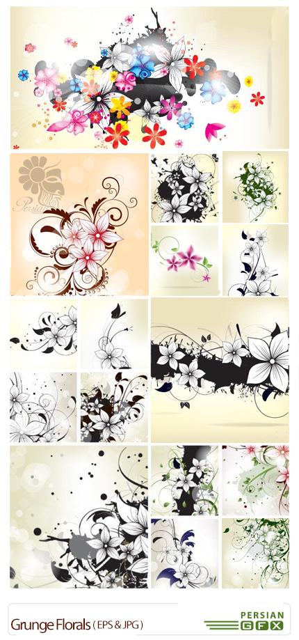 دانلود تصاویر وکتور پس زمینه های تزئینی گل های قدیمی - Grunge Florals