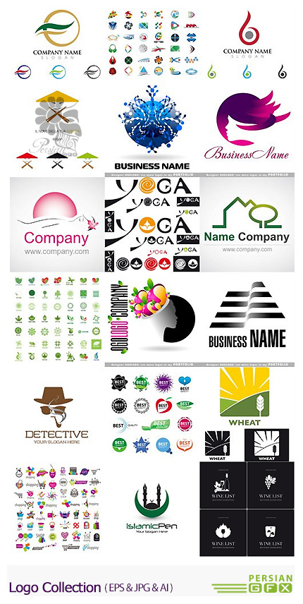 دانلود تصاویر وکتور آرم و لوگوی فانتزی - Collection Of Logos