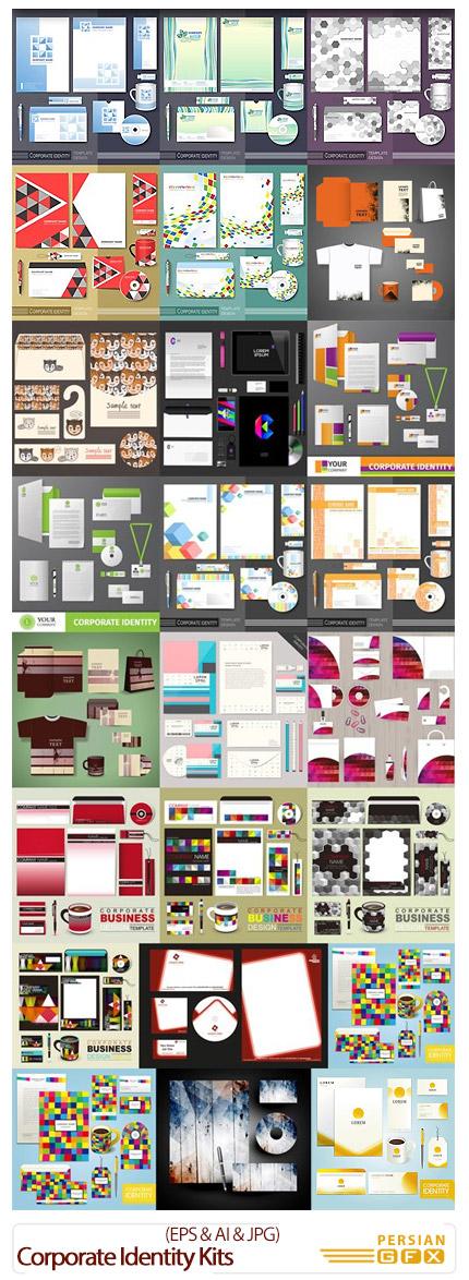 دانلود تصاویر وکتور ست اداری، بروشور، سربرگ، کارت ویزیت، پاکت فانتزی - Corporate Identity Kits