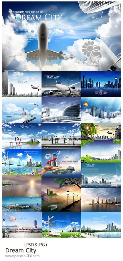 دانلود تصاویر لایه باز شهر رویایی، ساختمان، هواپیما، رودخانه - Dream City