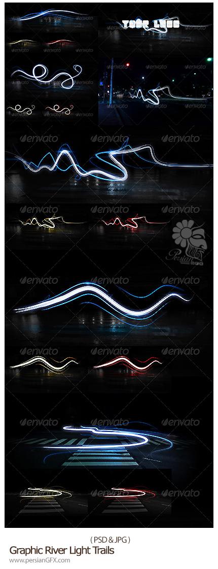 دانلود تصاویر لایه باز نورهای شناور دنباله دار از گرافیک ریور - GraphicRiver Light Trails