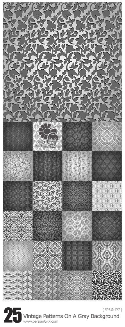 دانلود تصاویر پترن پس زمینه های گلدار قدیمی خاکستری - Vintage Patterns On A Gray Background