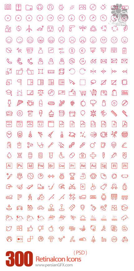 دانلود تصاویر لایه باز آیکون های متنوع وب - PSD Web Icons RetinaIcon 300 Icons