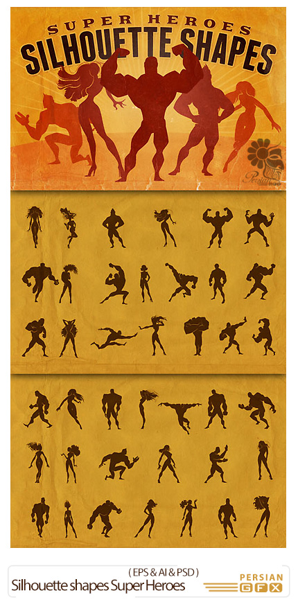 دانلود تصاویر وکتور سایه ای بدنسازی، پرورش اندام - Silhouette shapes Super Heroes