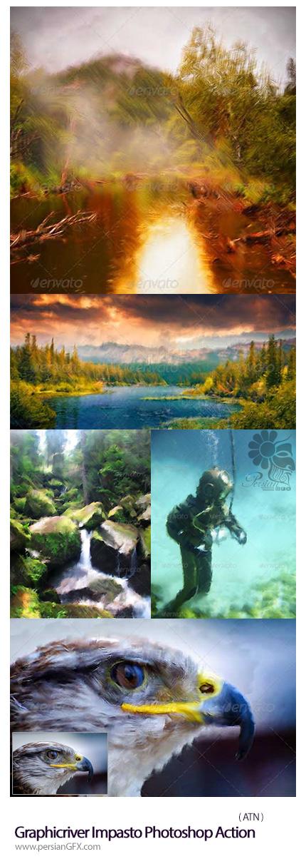 دانلود اکشن فتوشاپ تبدیل تصاویر به نقاشی Impasto از گرافیک ریور - Graphicriver Impasto Photoshop Action