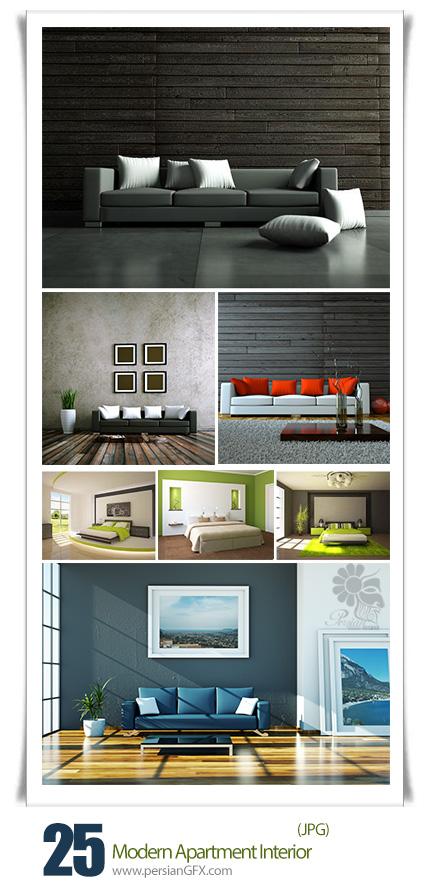 دانلود تصاویر با کیفیت طراحی داخلی مدرن آپارتمان - Stock Photo Modern Apartment Interior