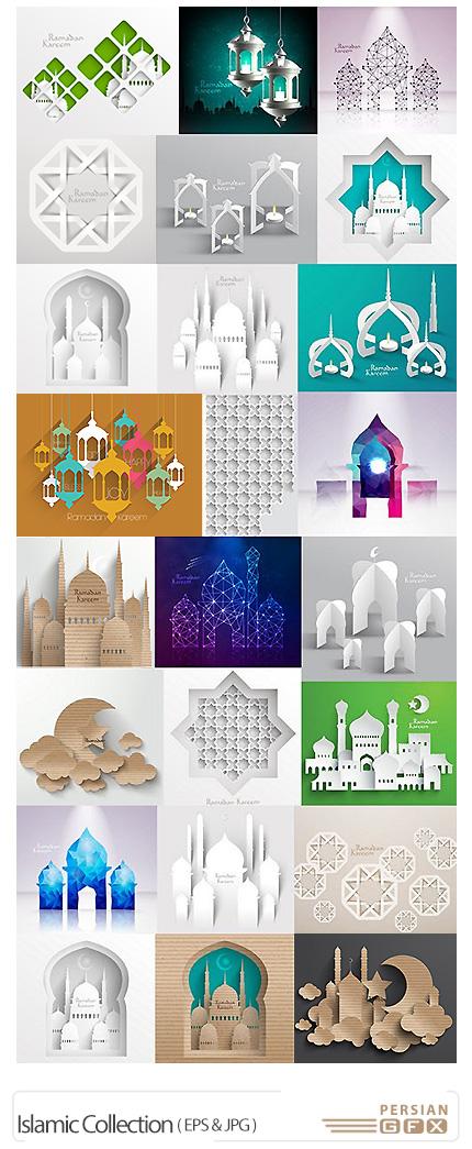دانلود مجموعه تصاویر وکتور اسلامی، مسجد، مدینه، گنبد - Islamic Collection