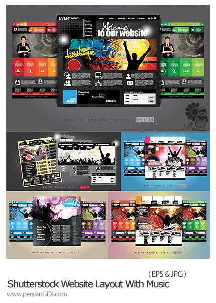 دانلود قالب آماده صفحات وب سایت موزیک از شاتر استوک - Shutterstock Website Layout With Music Event Subject