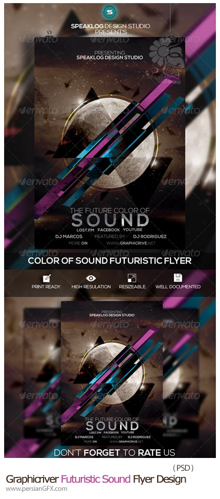 دانلود تصاویر لایه باز فلایر یا برگه های تبلیغاتی کنسرت از گرافیک ریور- Graphicriver Futuristic Sound Flyer Design