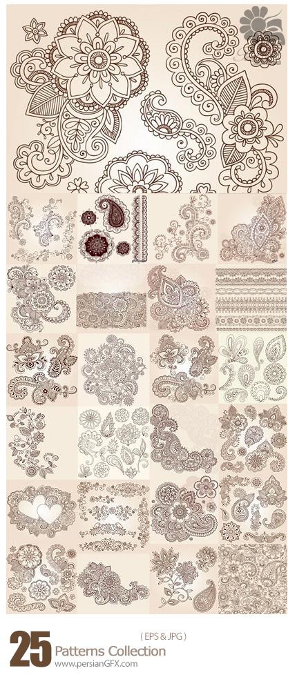 دانلود مجموعه تصاویر وکتور پترن گلدار - Patterns Collection