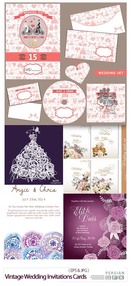 دانلود تصاویر وکتور کارت دعوت عروسی - Vintage Wedding Invitations Cards