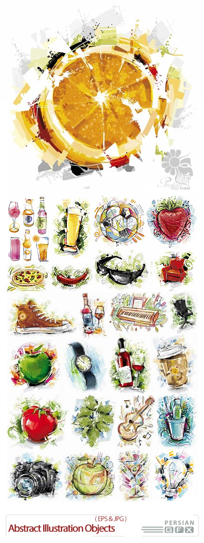 دانلود تصاویر وکتور تصویر سازی انتزاعی اشیاء مختلف - Abstract Illustration Different Objects In Vector From Stock