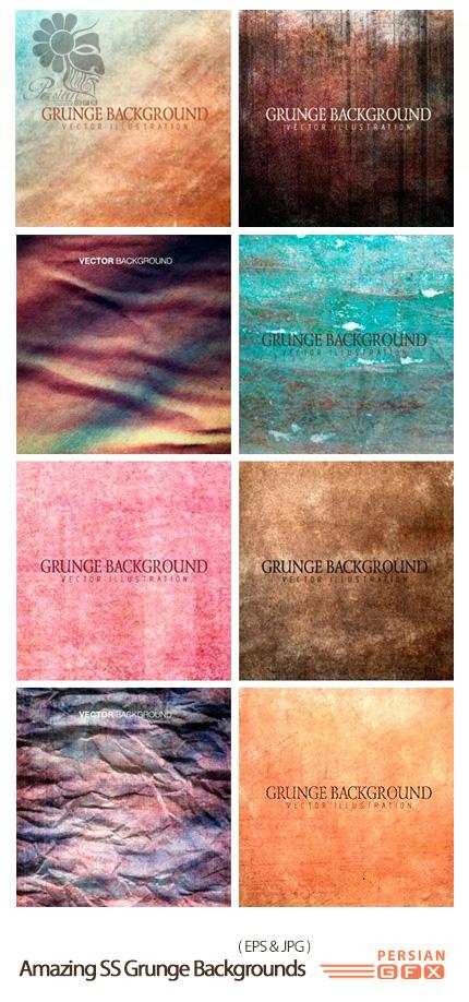دانلود تصاویر وکتور پس زمینه های رنگارنگ گرانج از شاتر استوک - Amazing ShutterStock Grunge Backgrounds