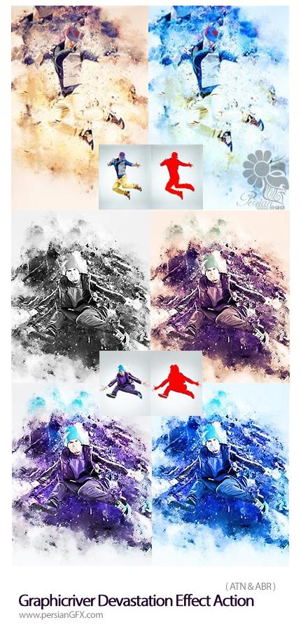 دانلود اکشن فتوشاپ ایجاد افکت پس زمینه مخرب بر روی تصاویر از گرافیک ریور - Graphicriver Devastation Effect Action