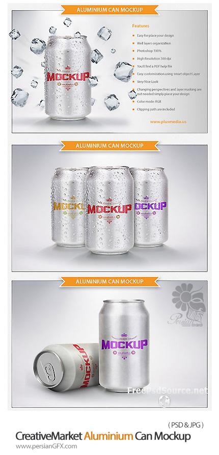 دانلود قالب پیش نمایش قوطی نوشابه آلومینیومی - CreativeMarket Aluminium Can Mockup
