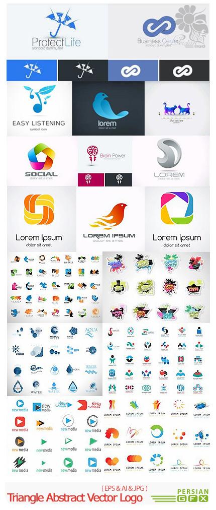 دانلود مجموعه تصاویر وکتور قالب آماده آرم و لوگوی انتزاعی - Triangle Abstract Vector Logo Design Template